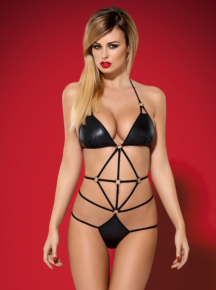Body Scandalia teddy - Obsessive L/XL Čierna