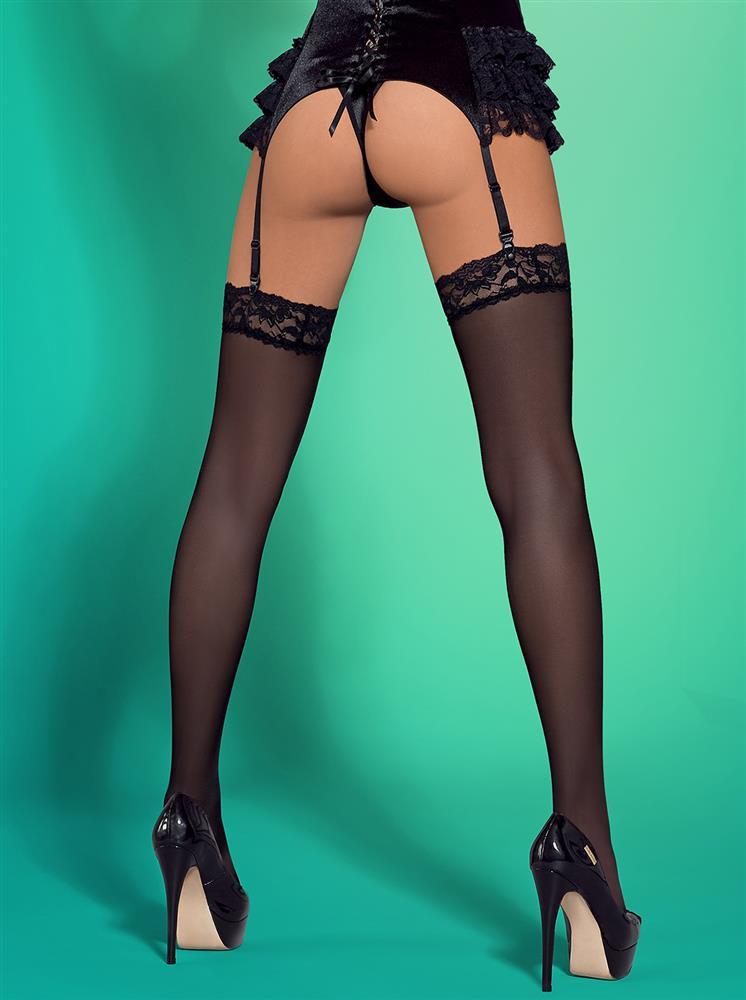 Punčochy Blackbella stocking XXL - Obsessive XXL Černá