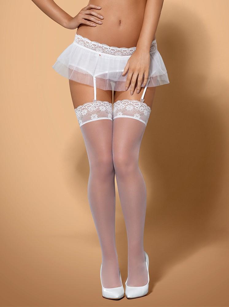 Punčochy Julitta stockings - Obsessive L/XL Bílá