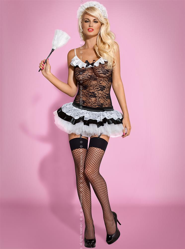 Sexy kostým Housemaid - Obsessive L/XL Černá