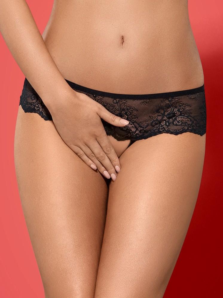 Kalhotky Merossa panties otevřené - Obsessive L/XL Černá