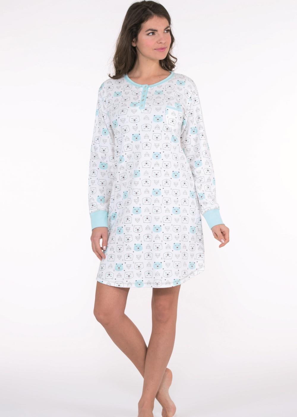 Noční košilka CTM ARTIC.LML modrý vzor L Krémová