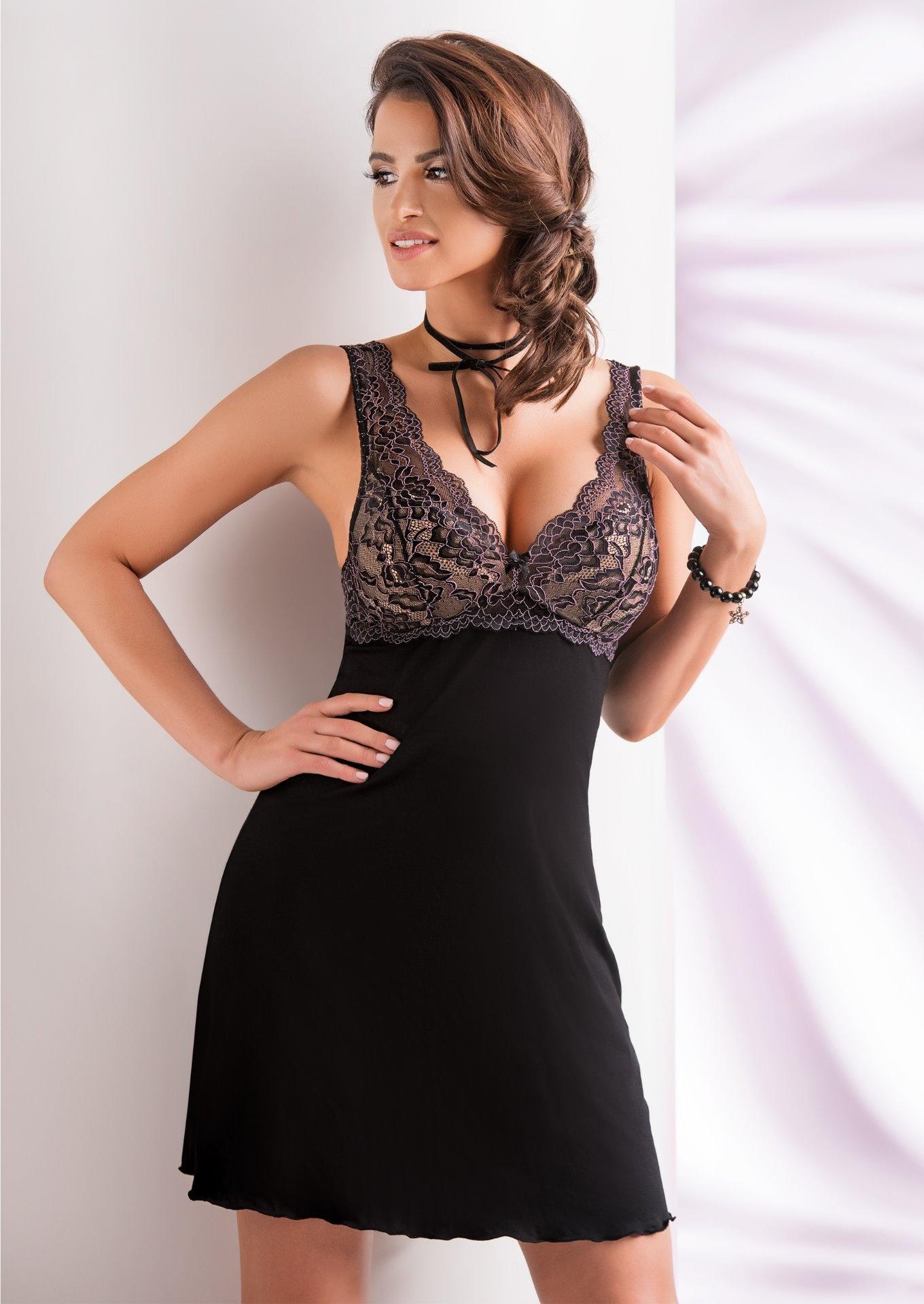 Dámská luxusní noční košilka DONNA Laila L Černá