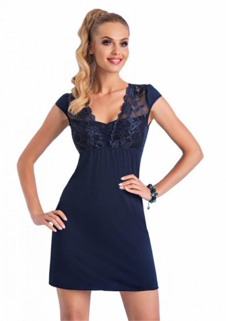 Elegantní noční košilka Donna Taylor M Tm. modrá