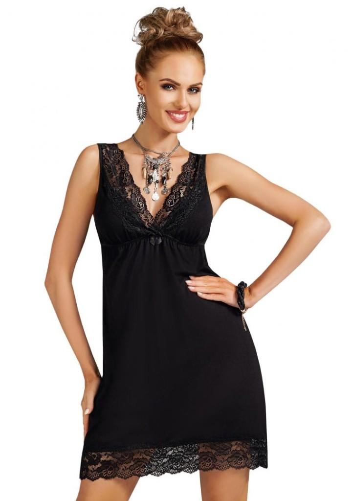 Noční košilka Donna Nadia - černá XL Černá