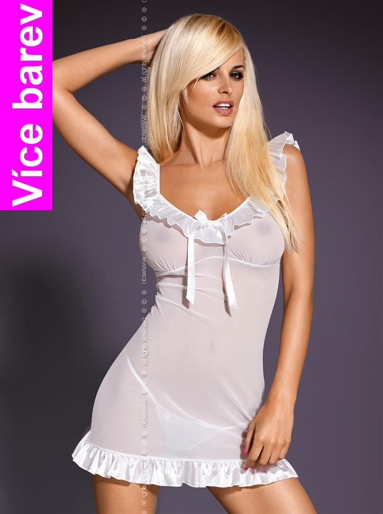 Dámská košilka Obsessive Electra chemise S S/M Bílá
