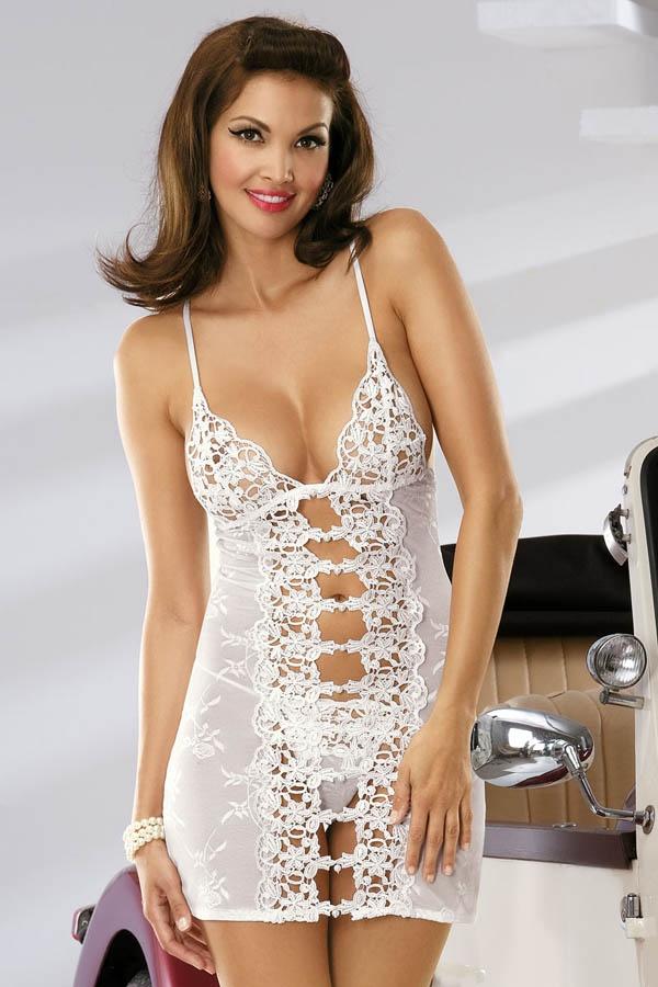 Košilka Obsessive Bride chemise bílá S S/M Bílá