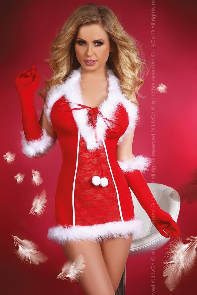 Vánoční kostým Snow Queen - LivCo Corsetti L/XL Červená