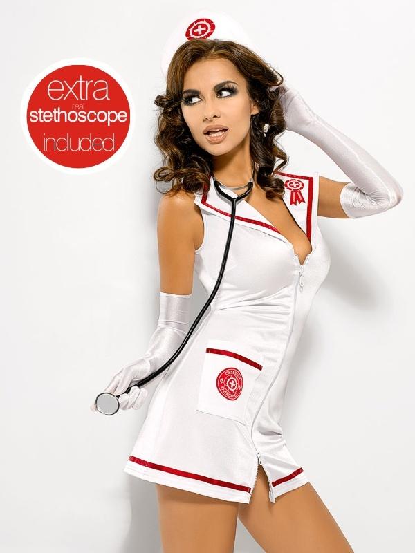 Sexy kostým Obsessive EMERGENCY DRESS + STETOSKOP S/M Bílá