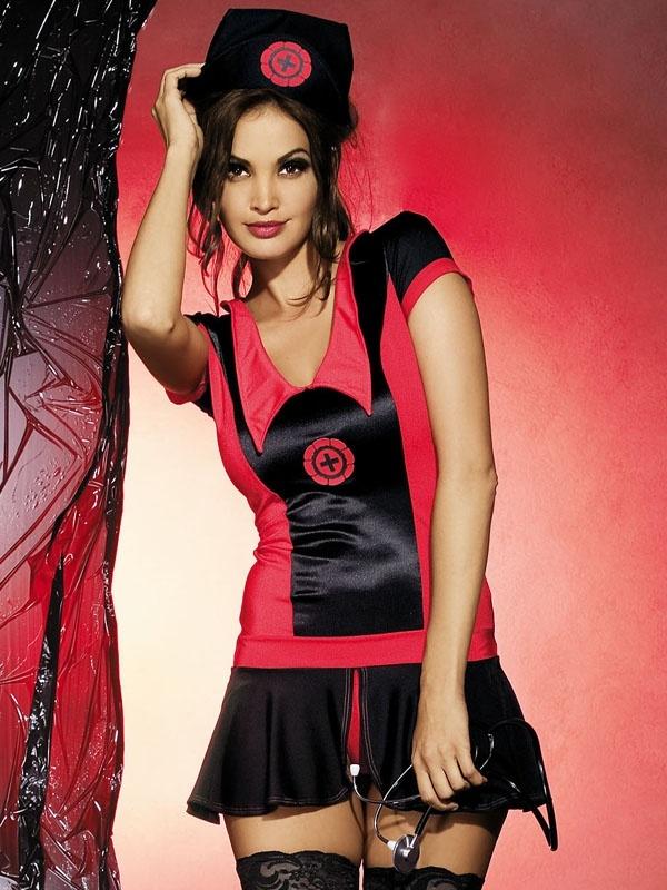 Sexy kostým Naughty nurse dress - Obsessive S/M Černá/červená