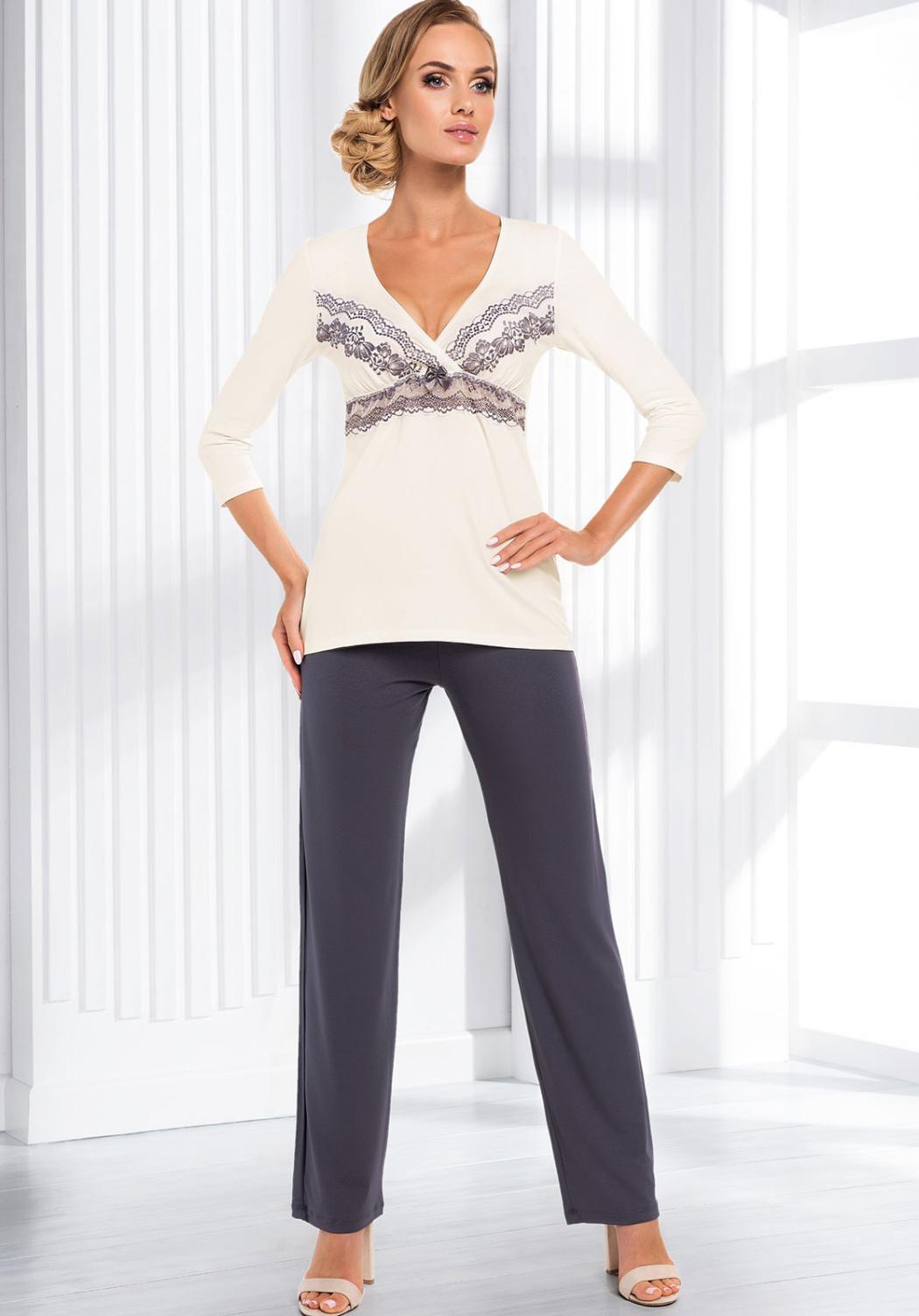 Dámské pyžamo Donna Aura 3XL Krémová