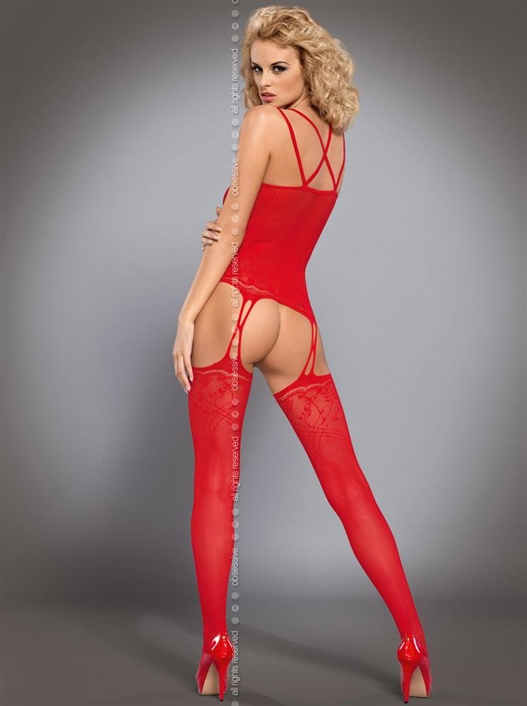 Body Bodystocking F206 - Obsessive L XL Červená