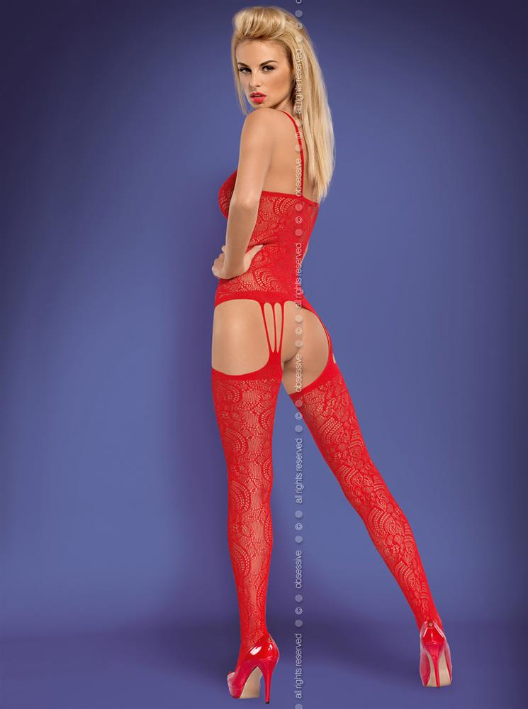 Body Bodystocking F208 - Obsessive L XL Červená