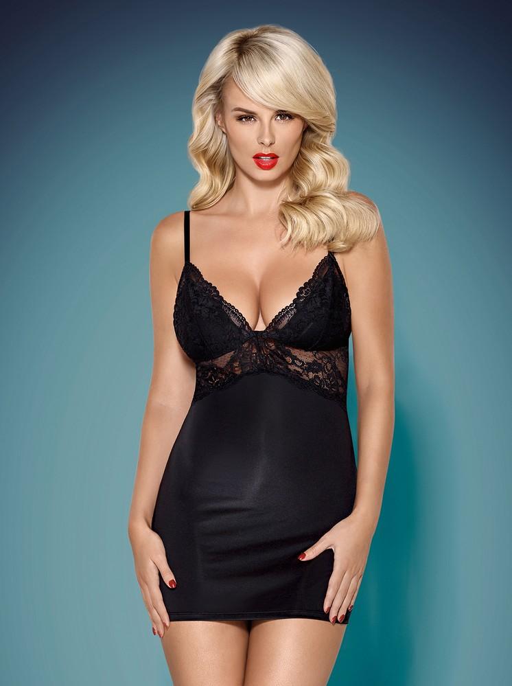 8f5d84650 Košilka 810-CHE black chemise - Obsessive | VIP Prádlo