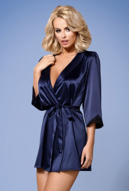Župan Satinia robe dark blue - Obsessive