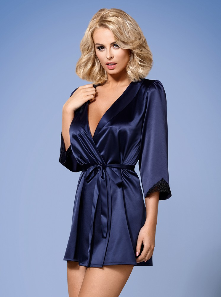Župan Satinia robe dark blue - Obsessive L XL tm.modrá