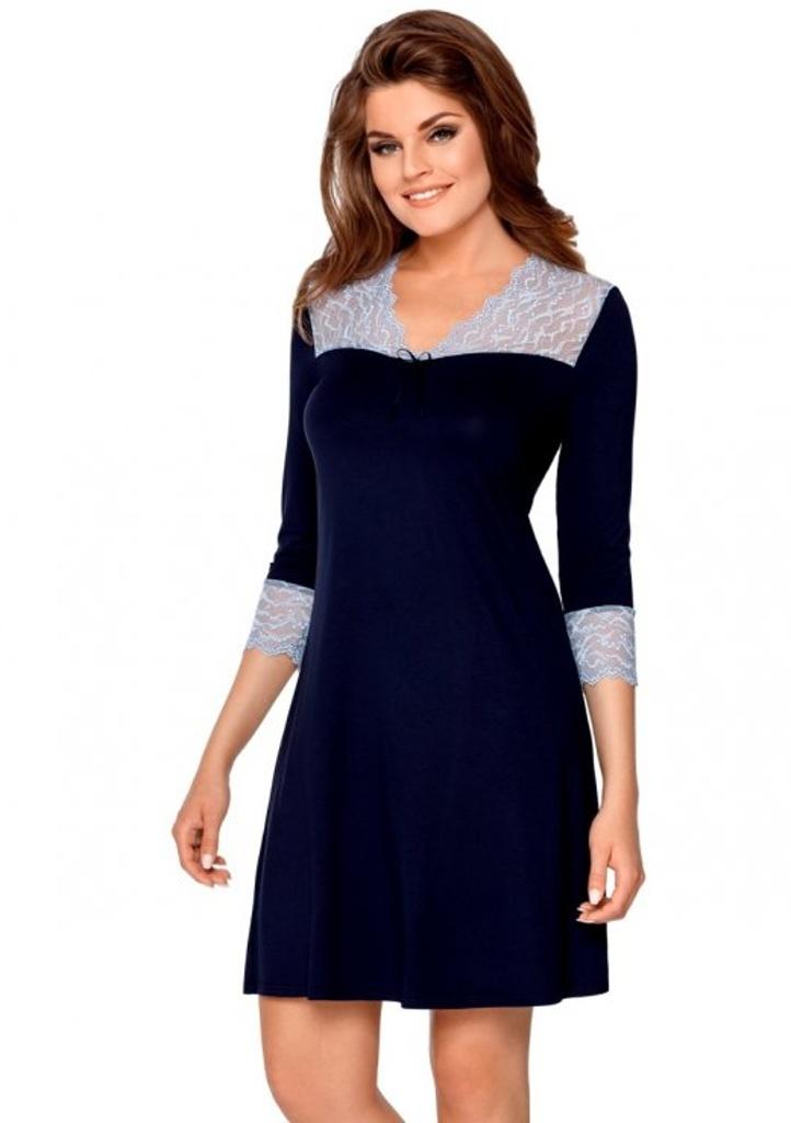 Dámská noční košilka Babella Penelope M Tm. modrá