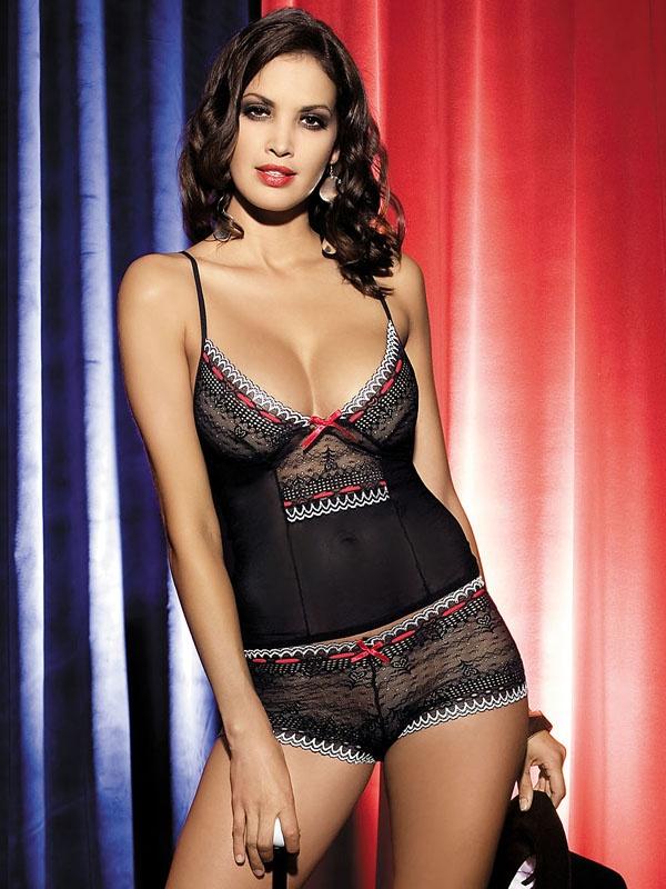 Souprava Showgirl top + shorts - Obsessive L/XL Černá