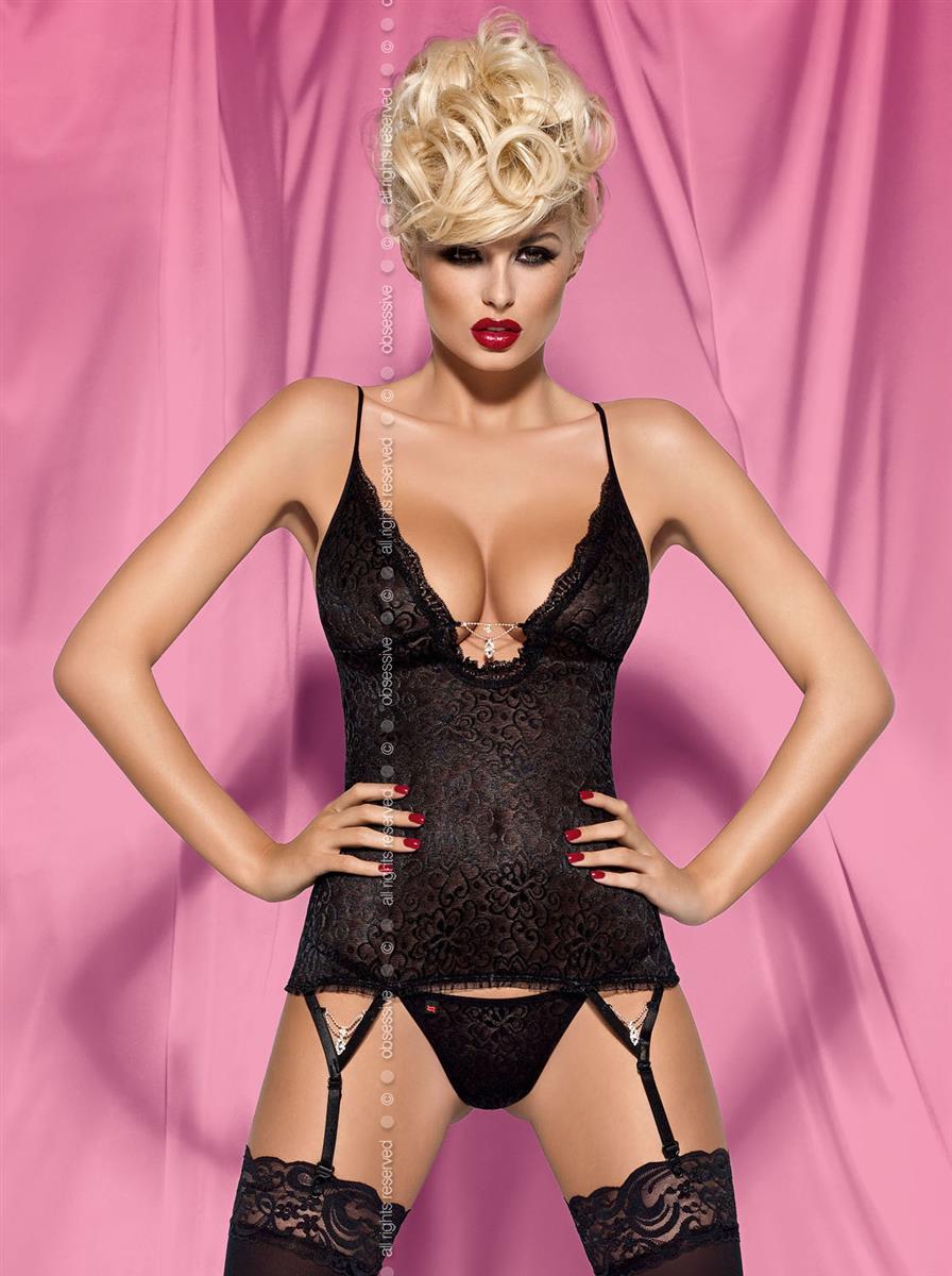 Korzet Diamond corset - Obsessive L/XL Bílá