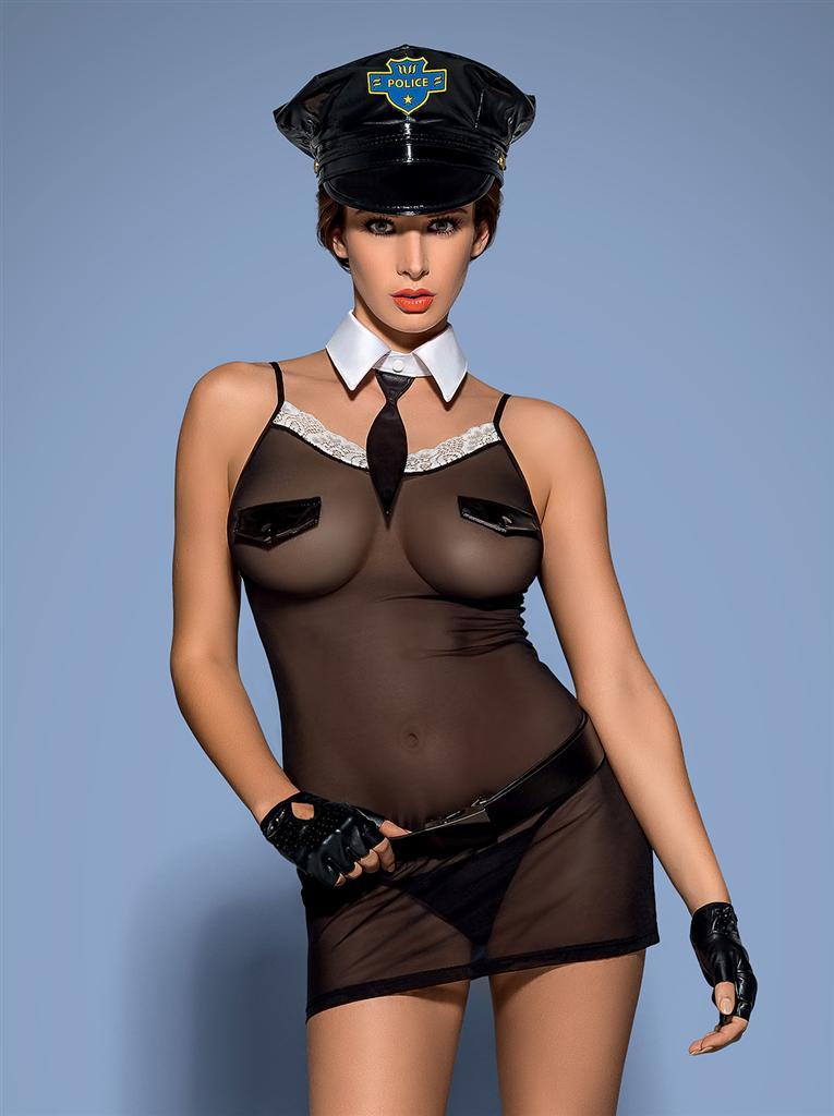 Sexy kostým Police chemise - Obsessive L/XL Černá