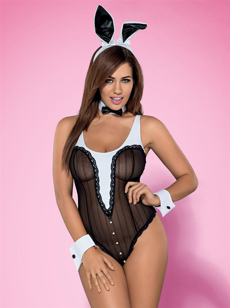 Sexy kostým Bunny teddy - Obsessive L/XL Černá
