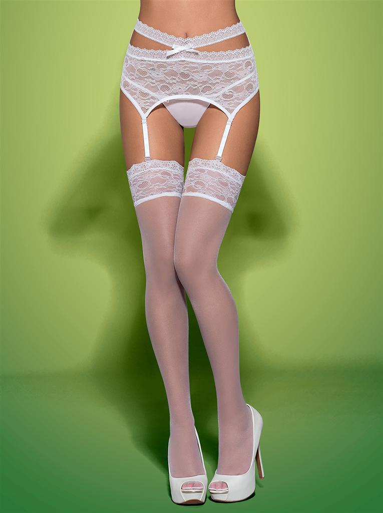 Punčochy Swanita stockings - Obsessive L/XL Černá