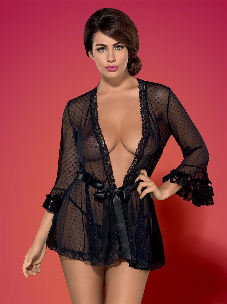 Župan Piccorosa robe - Obsessive L/XL Černá