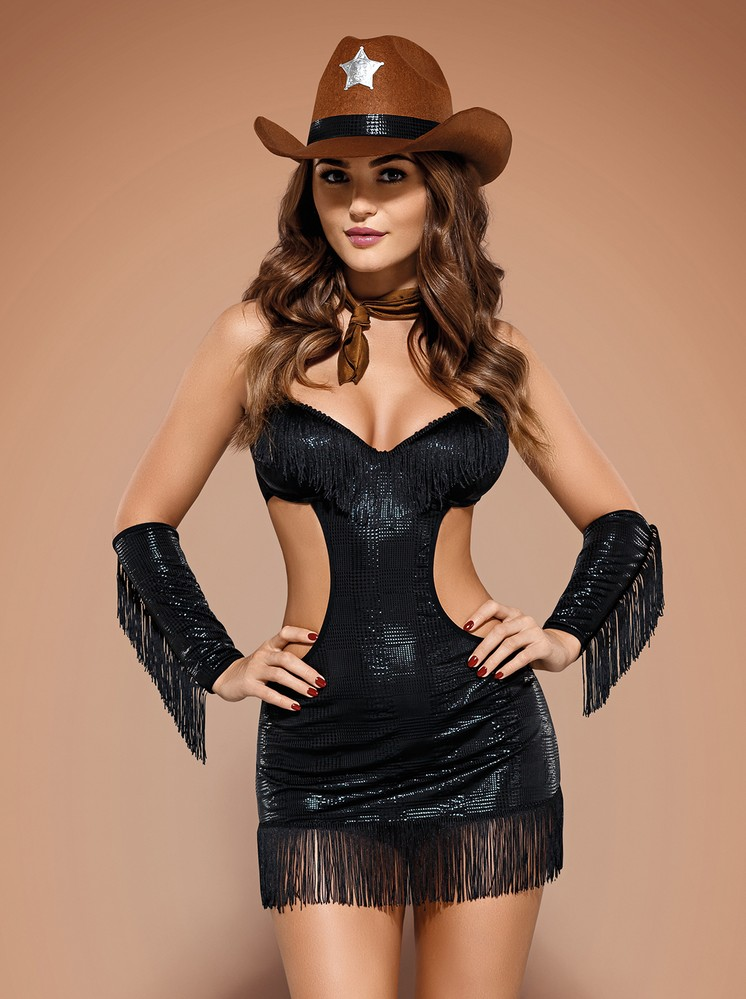 Sexy kostým Sheriffia - Obsessive L/XL Černá